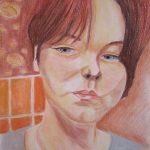 Self-portrait in Bathroom - pastel pencils on paper