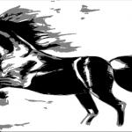 Horse Burst - Charcoal and Photoshop